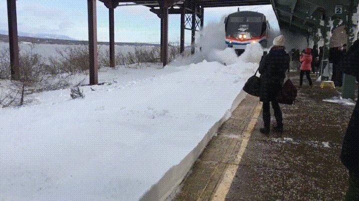 Amtrak train decides to snowfight nononono meanwhile