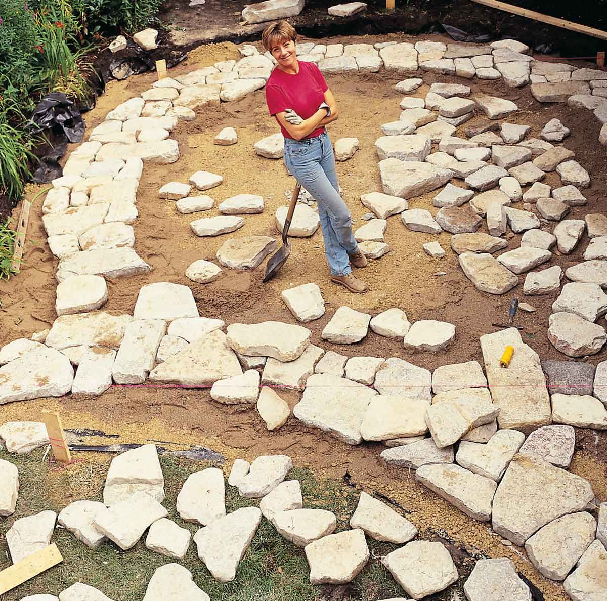 Build a beautiful stone and brick backyard patio with