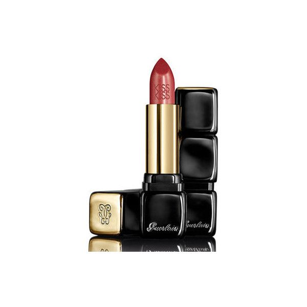 Guerlain KissKiss Satin Finish Lipstick (€34) ❤ liked on Polyvore featuring beauty products, makeup, lip makeup, lipstick, guerlain lipstick and guerlain