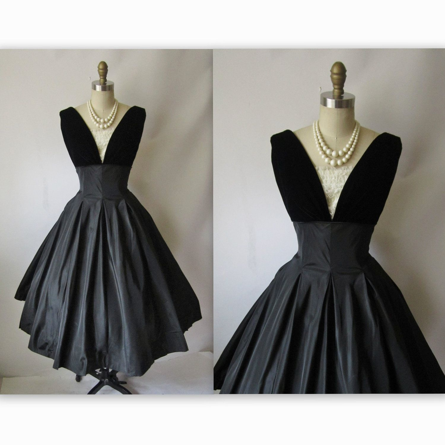 50\'s Cocktail Dress // Vintage 1950\'s Black Taffeta Full New Look ...