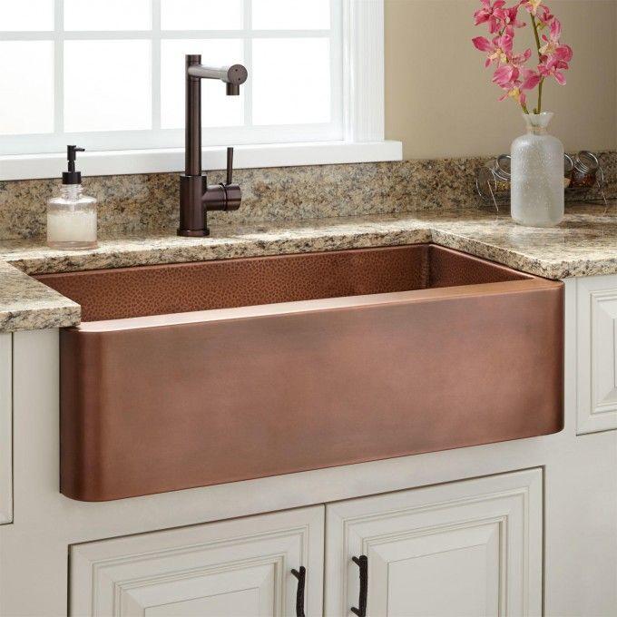 Light Cabinets Copper Sink Backsplash