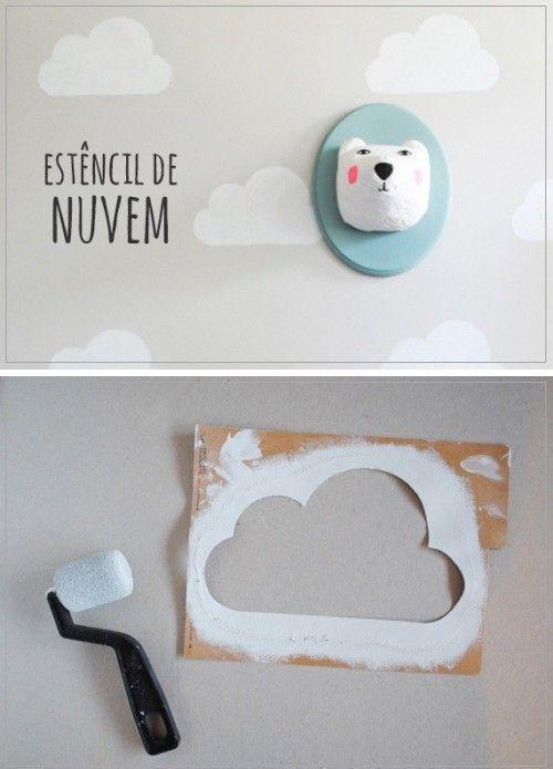 Eine Wolkenschablone für die schnelle Kinderzimmer Wandgestaltung ...