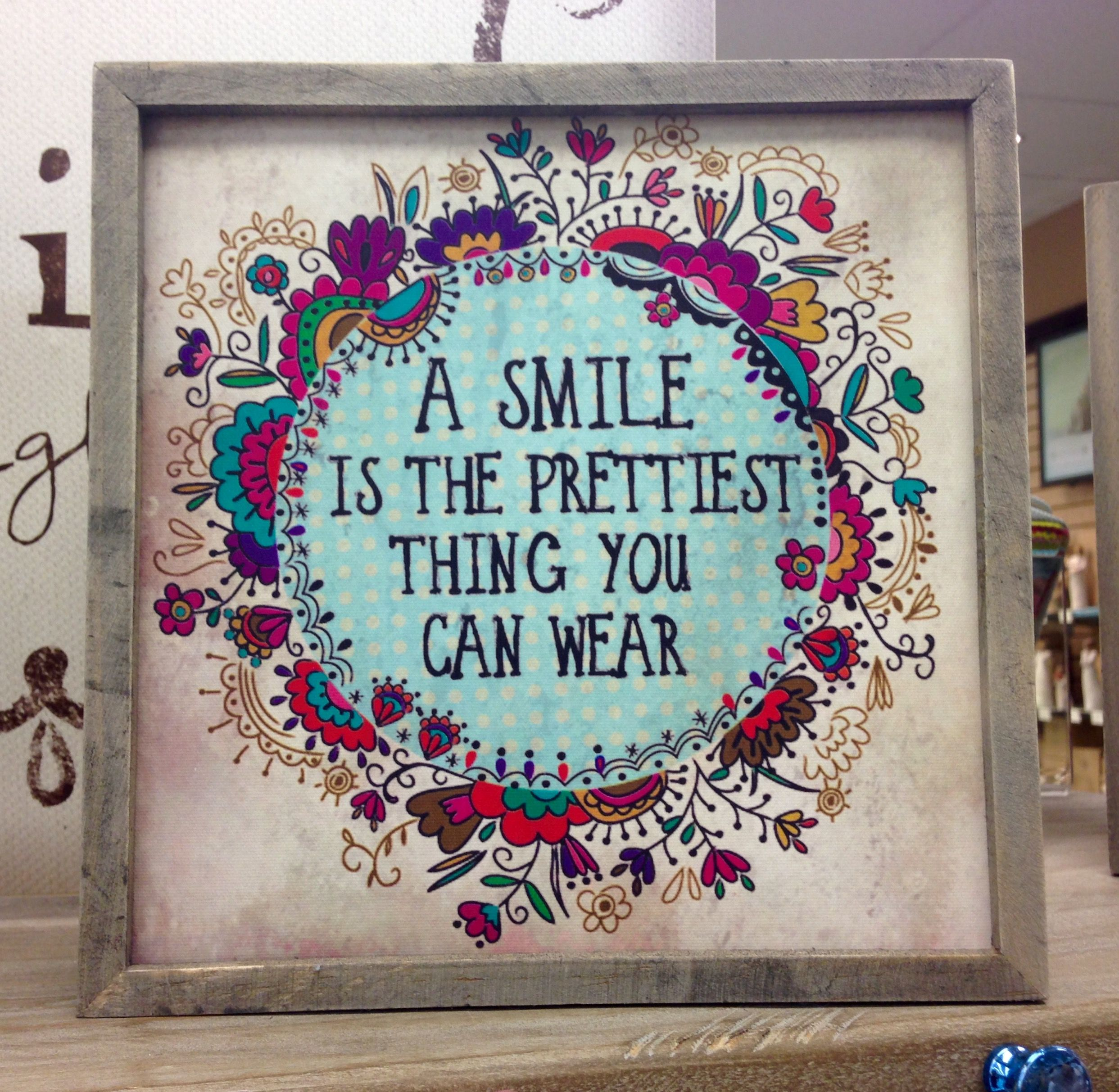 A Smile Is The Prettiest Thing You Can Wear Framed Print Mardel Stretched Canvas Wall Art Natural Life Framed Canvas Wall Art
