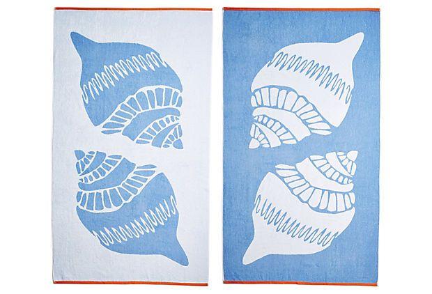 Shells Beach Towel French Blue Orange On Onekingslane