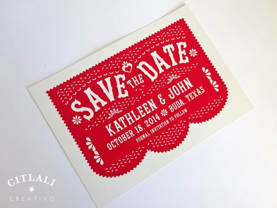 Papel Picado Save the Date card in Red or any color - Fiesta announcement - Folk Art / Mexican Banner on Etsy, $25.00