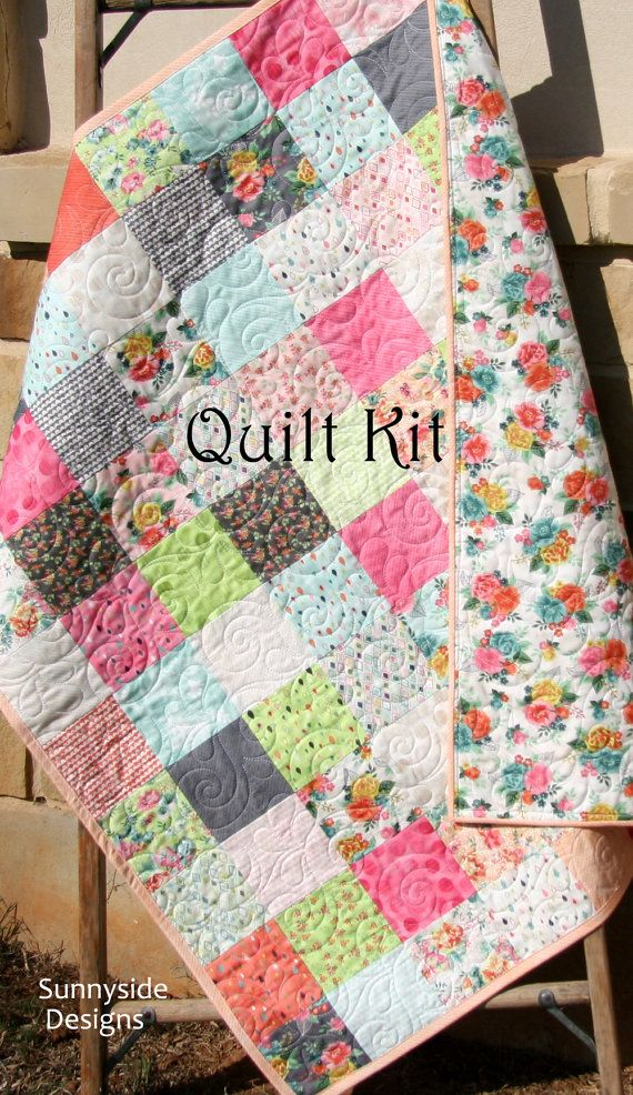 Baby girl quilt kit fresh cut by basic grey moda fabrics flowers baby girl quilt kit fresh cut by basic grey moda fabrics flowers in coral orange pink yellow beginner simple patchwork diy do it yourself baby girl quilt solutioingenieria Images
