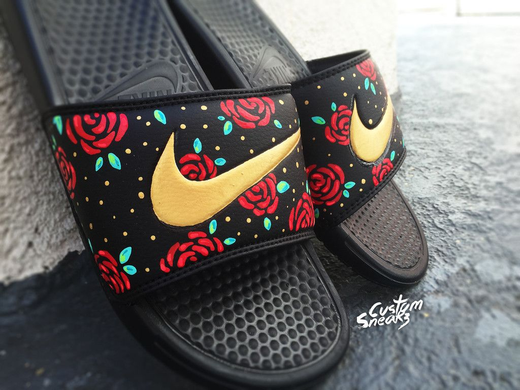 Custom Nike Benassi Flip Flop Sandals Mens Gold Custom Design