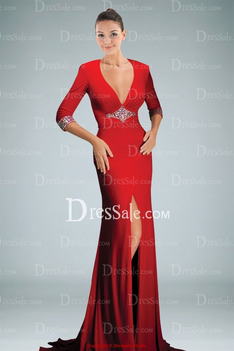 Modern Sheath Evening Gown Holding Beaded Motifs and Keyhole Back ...