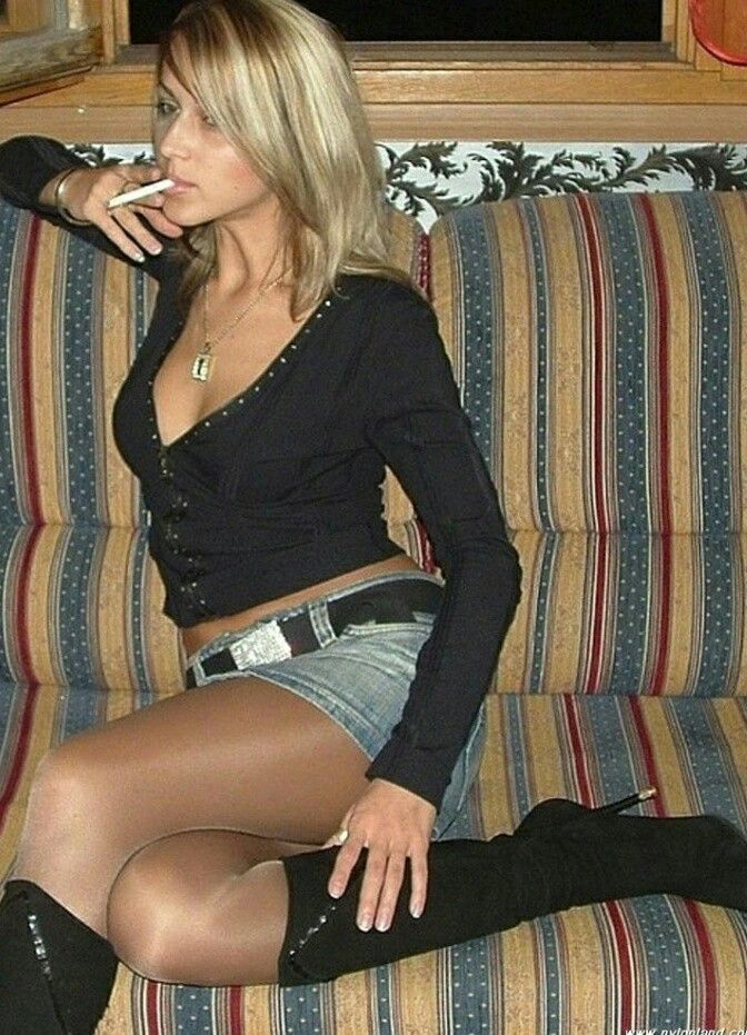Second hand smoke in pantyhose blonde