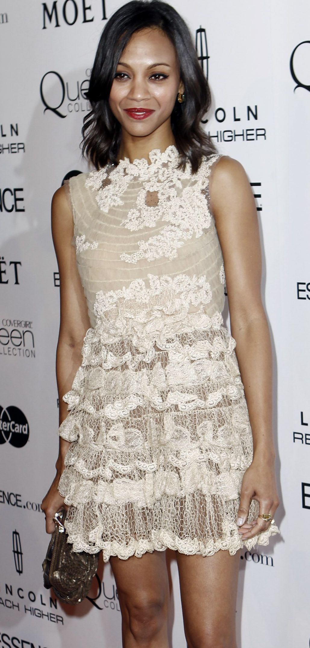 Edgy Celebrity Stackable Rings | Zoe saldana, White lace dresses and ...