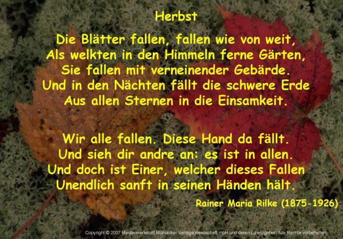 Rainer Maria Rilke Gedichte Gedichte Trauer Und Herbst Zitate
