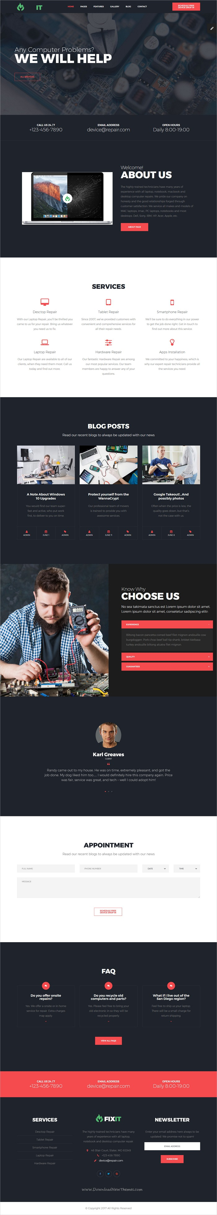 FixIt - Electronics Repair HTML Template with Builder and ...