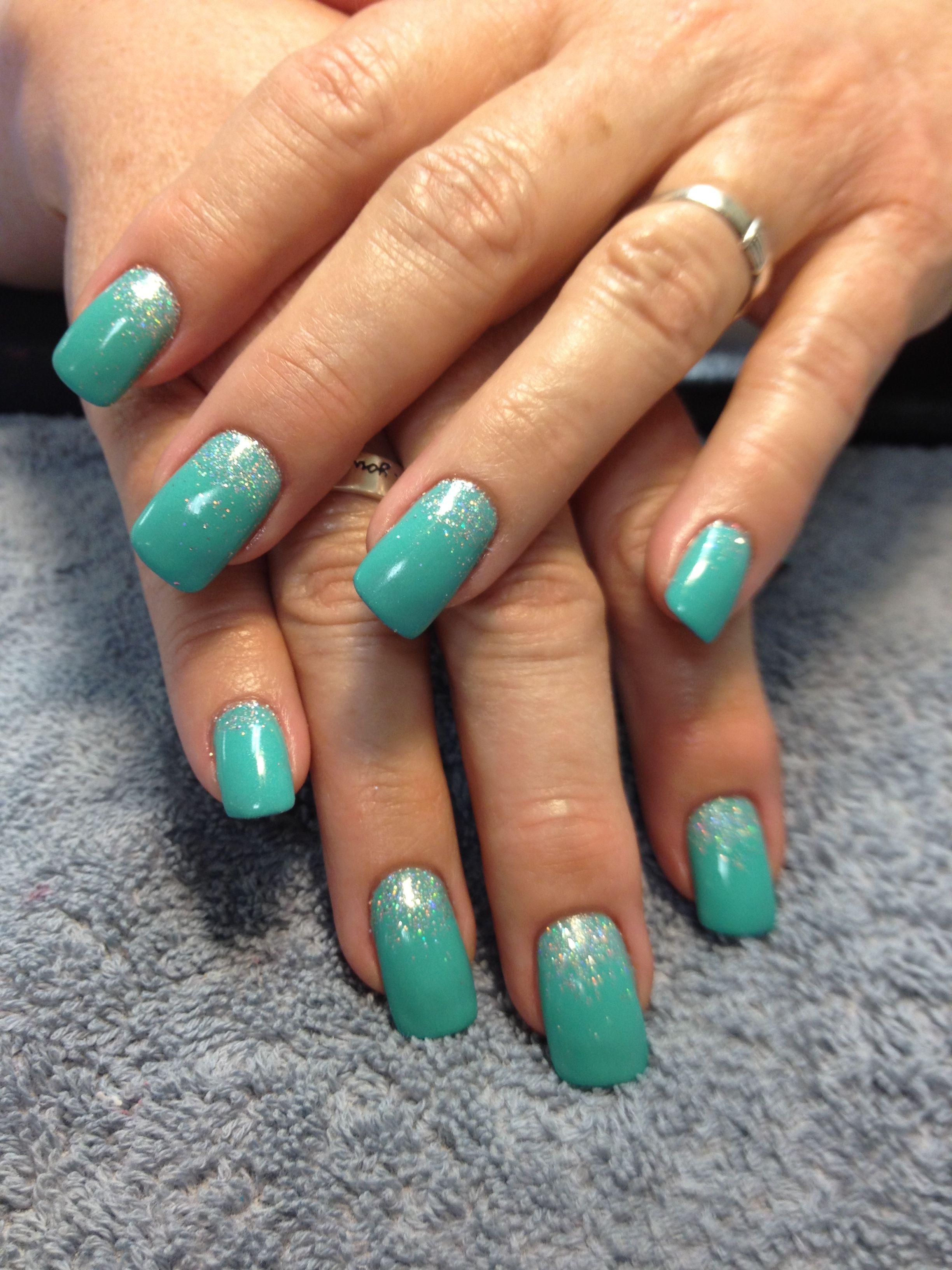 Tiffany blue gel polish with glitter