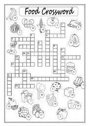 English Worksheet Food Crossword Puzzle