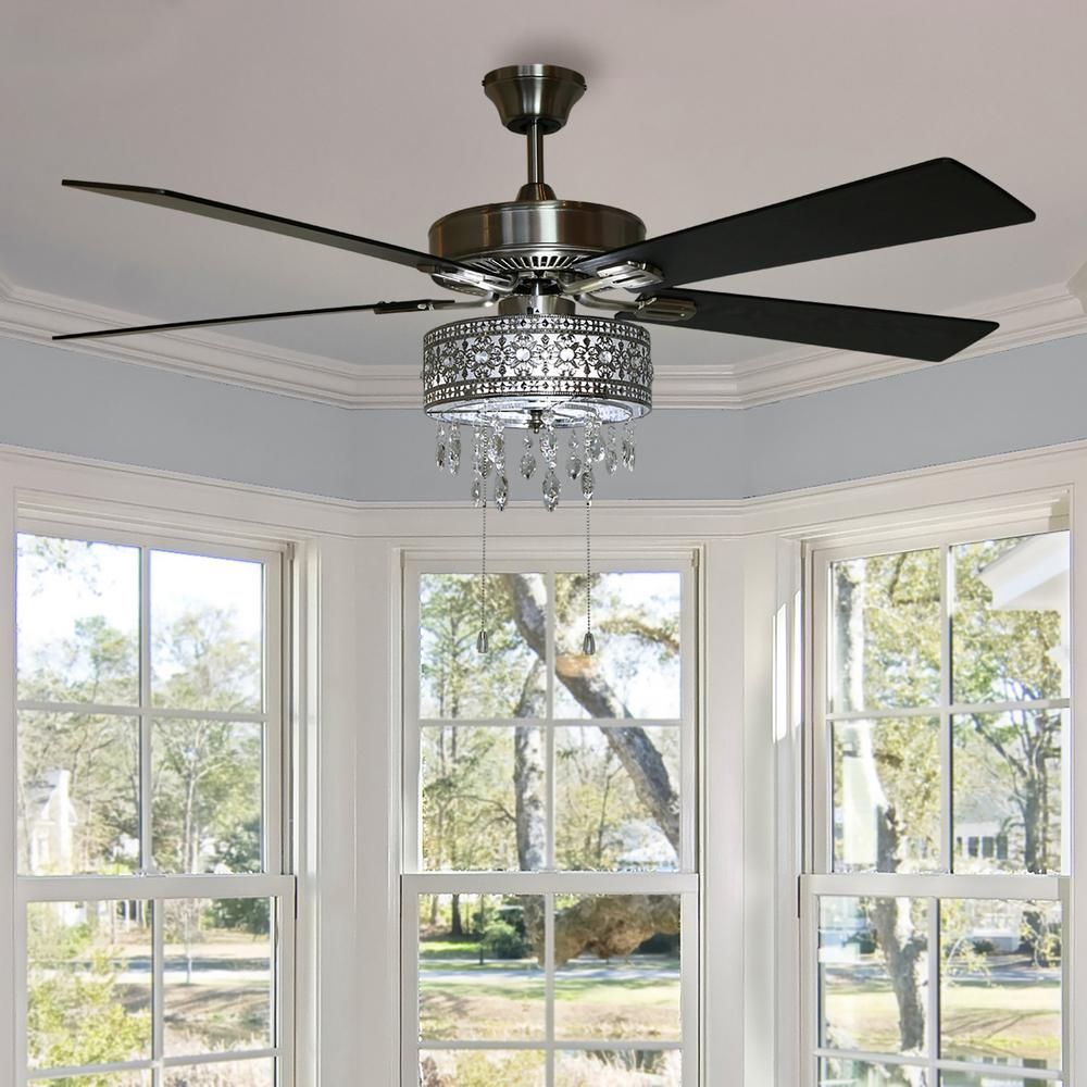 River Of Goods Modern 52 In Satin Nickel Chandelier Led Ceiling Fan With Light 19542 The H Elegant Ceiling Fan Ceiling Fan In Kitchen Ceiling Fan Chandelier