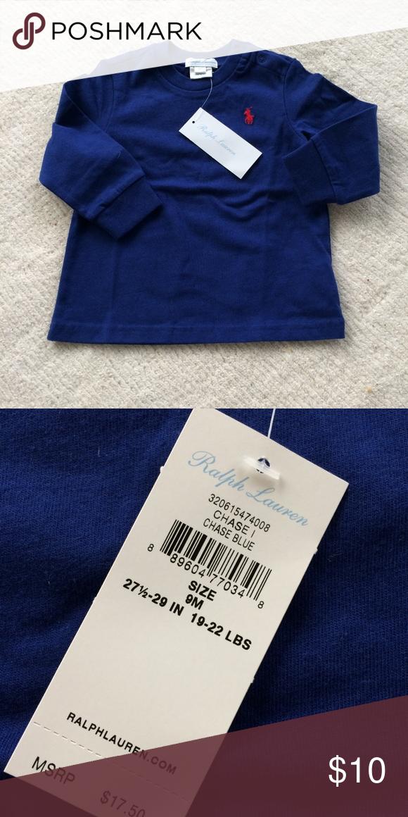 7cb07d888 Ralph Lauren baby boy blue cotton long sleeve t-shirt. Size 9 months. Brand  new. Ralph Lauren Shirts & Tops Tees ...
