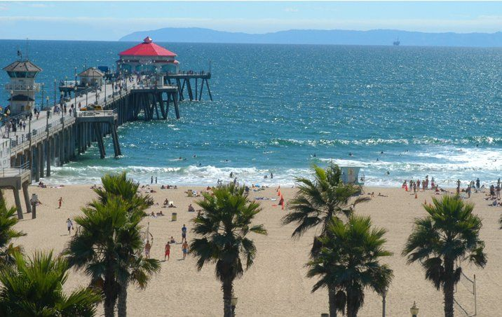 My home town...Huntington Beach....Catalina Island on a
