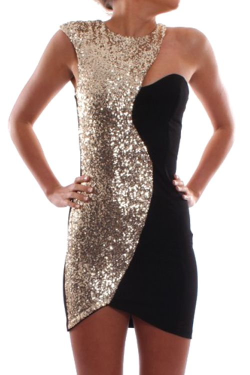 64b5fc53fa2 Black Gold Sequined Sleeveless Dress Black Sequin Dress