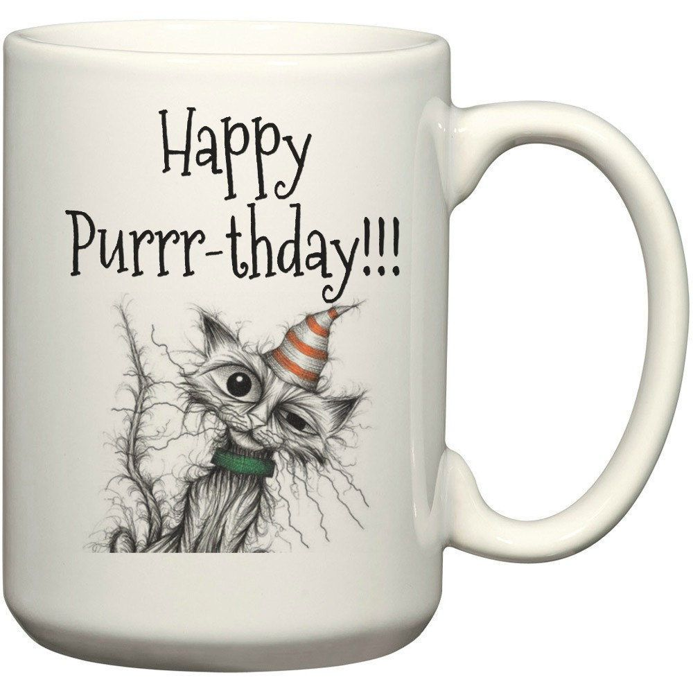Happy Birthday Cat Lover Gift Coffee Funny Mug Cute Crazy Lady Idea By ForYouByRose On Etsy