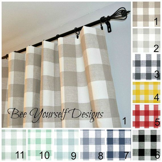 Farmhouse Curtains Buffalo Check Plaid Anderson Pair Of Rod Pocket Curtain Panels Taupe Gray Pink Red Cashmere Blue Navy Black Orange Panel Curtains Buffalo Check Curtains Curtains