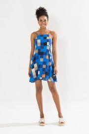 vestido curto quadri azulao