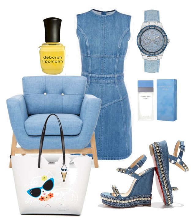 """Denim Days"" by thestylesnitch on Polyvore featuring Deborah Lippmann, Christian Louboutin, Dolce&Gabbana, Karl Lagerfeld and GUESS"