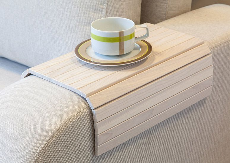 Flexible Wooden Tray Tables That Fit Over A Rectangular Armrest On Sofa And Easily Roll Up For Easy Storage When No Longer Needed