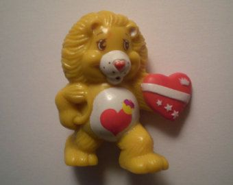 Vintage 1984 Care Bears Brave Heart Care Bear Cousin Lion with Heart Mini Figure