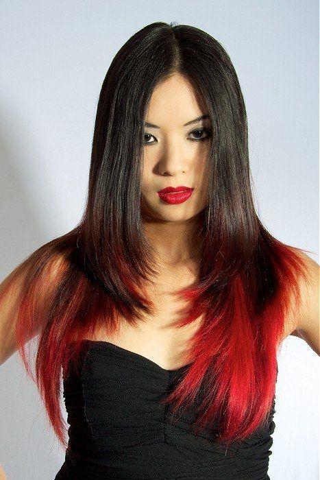 Red Highlights Dark Skin Dark Brown Hair With Red Highlights
