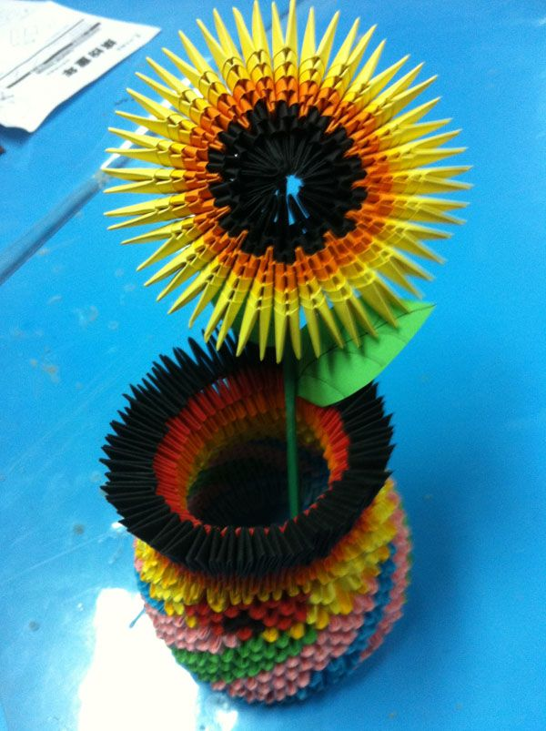 3D Origami Sunflower With Vase