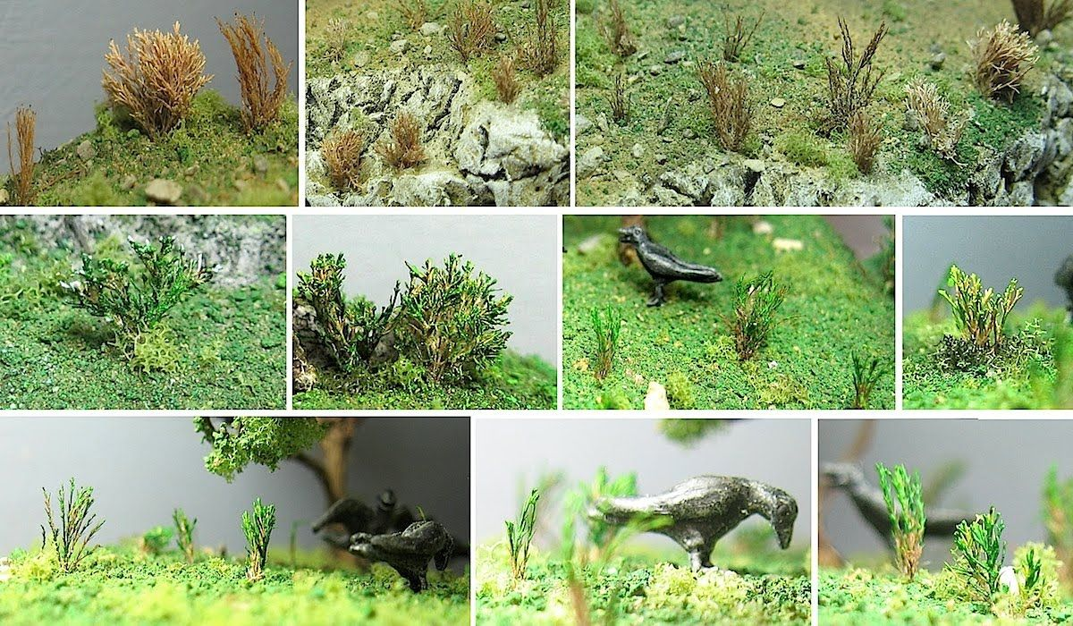 Diorama making: trees, bushes and tuffs of grass