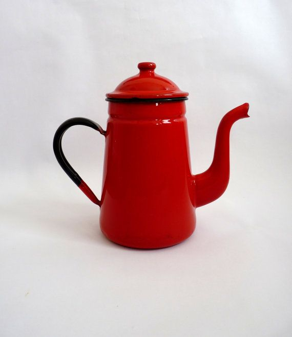 Vintage Red Enamel Coffee Pot by FoxandThomas on Etsy, $25.00