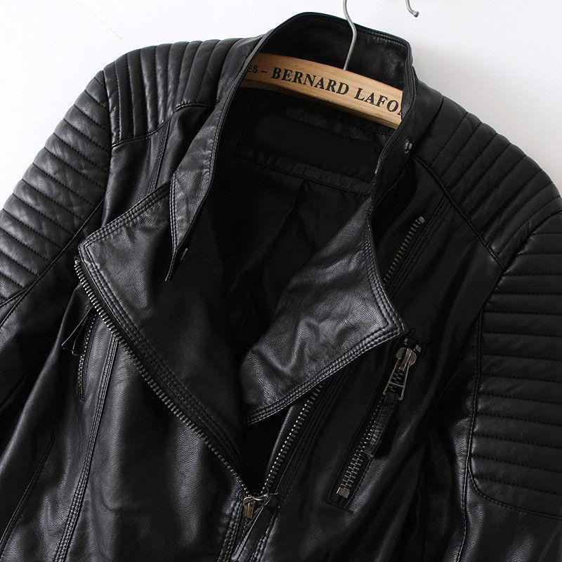 Black Long Sleeve Zipper PU Leather Jacket | MakeMeChic.COM ...