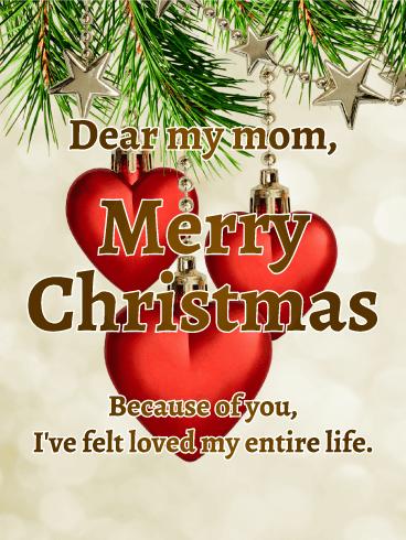 Heart Ornaments Christmas Card For Mom Birthday Greeting Cards By Davia Christmas Ornaments Christmas Card Ornaments Birthday Greeting Cards