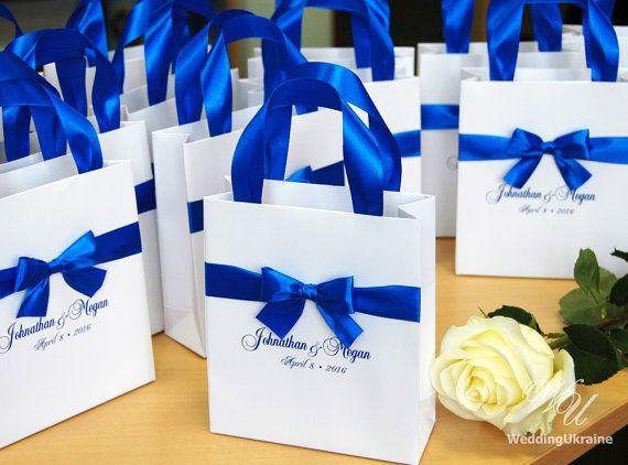 Royal Blue Wedding Welcome Bags With Satin Ribbon Bow And Your Names Elegant Personalized Gift Bag Custom Wedding Favors For Guests Blue Wedding Favors Royal Blue Wedding Favors Wedding Favor Gift