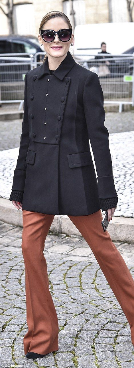 790e878ff919 Covering up  Olivia Palermo prioritised warmth in a smart coat and 70s  inspired