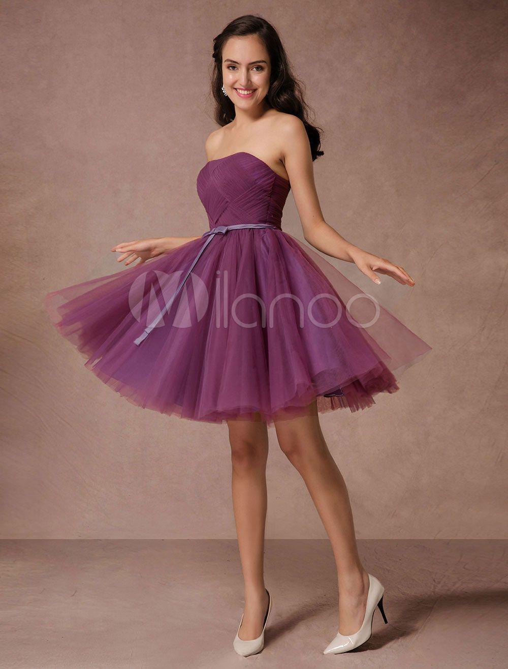 Short de Dama de honor vestido de ciruela tul Homecoming vestido ...