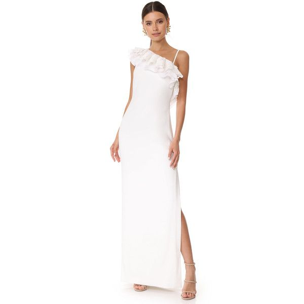 Badgley Mischka Collection One Shoulder Ruffle Gown (37.420 RUB ...