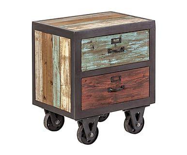 Mesita auxiliar con 2 cajones en madera DM - 50x38 cm Deco spirit - mesitas de madera