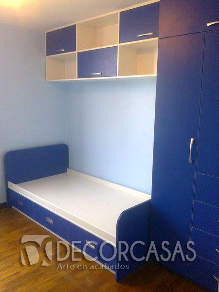 Muebles de dormitorio para niños. Cama de una plaza y media con tres ...
