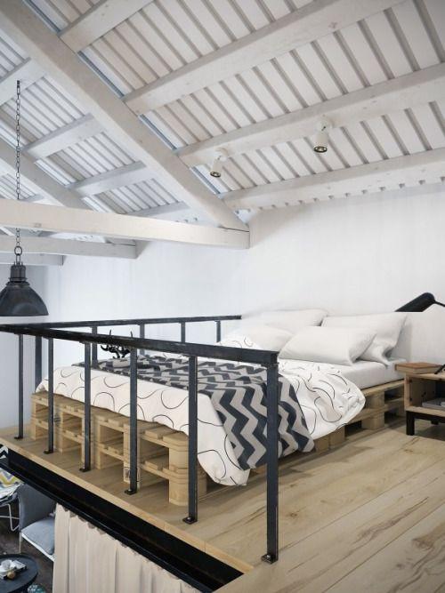 Via chic scandinavian studio with lofted bed