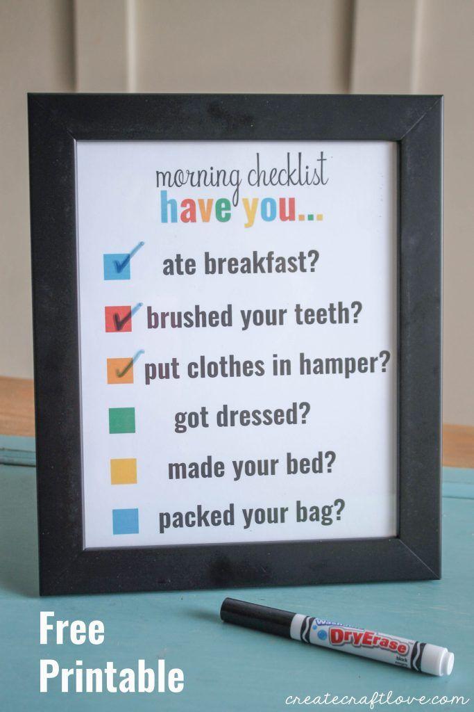 Morning Checklist Printable