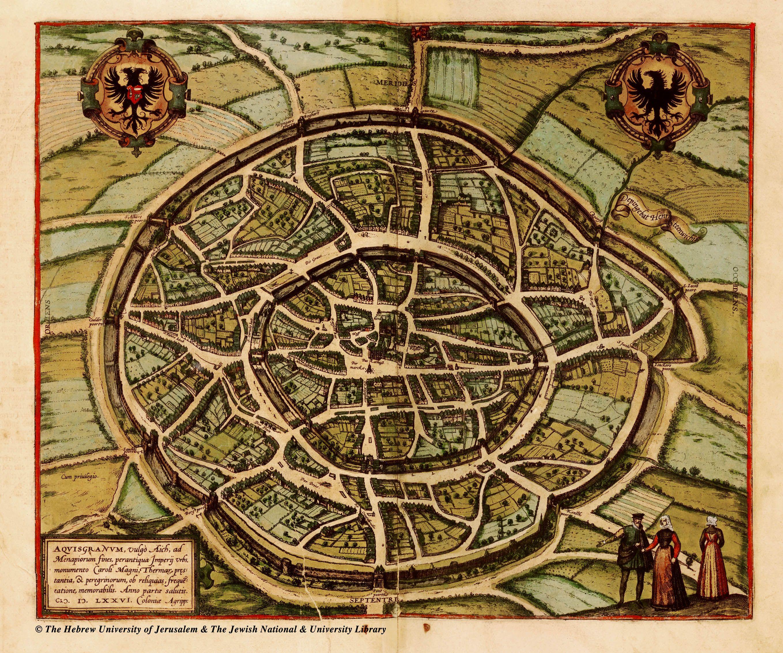 Aquisgranum vulgo Aich ANTIQUE MAPS OF CITIES AND FORTRESSES