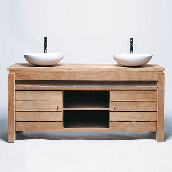 meuble salle de bain en teck en solde