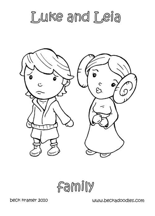Baby princess leia and luke skywalker kids activities for Princess leia coloring page