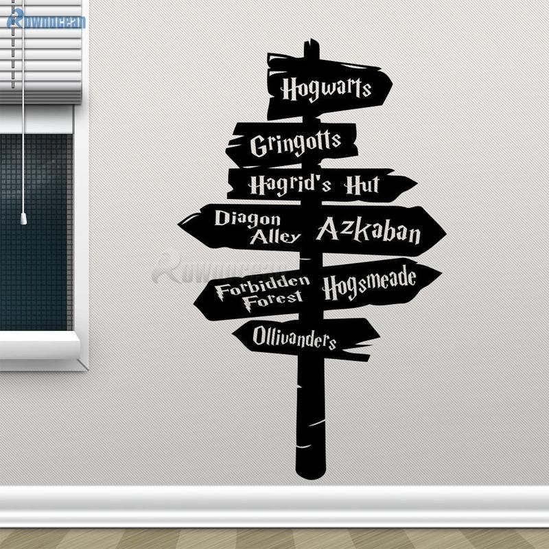 Road Sign Wall Decor Enchanting Removable Harry Potter Wall Decal Hogwarts Road Sign Vinyl Sticker Design Decoration