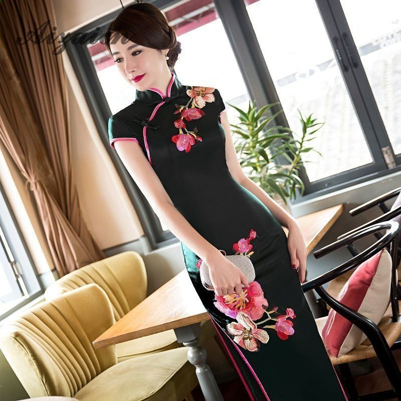 Modern Chinese Traditional Dress Schwarz Prom Kleider Seide Qipao ...