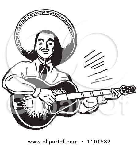Clipart Retro Black And White Happy Mexican Mariachi Guitarist Royalty Free Vector Illustration By Bestve Free Vector Illustration Clip Art Clip Art Pictures