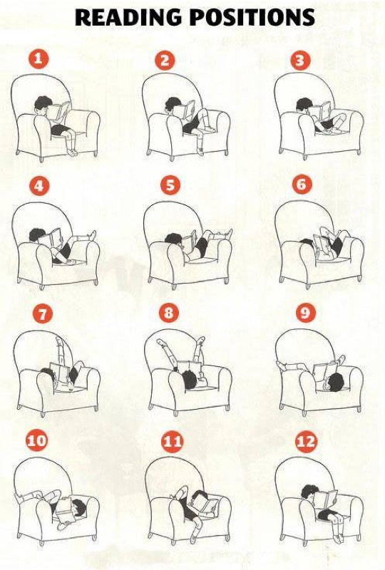 Reading positions: 15 fabulous pictures and cartoons