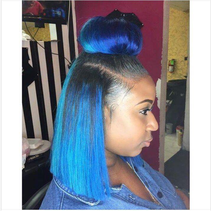 blue hair. bun. blunt cut. pretty